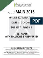 Jee Main 2016 Online CBT Solution PHYSICS 10-04-2016 v2