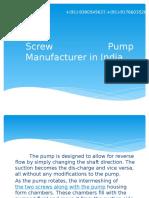 screw pump manufacturer in india