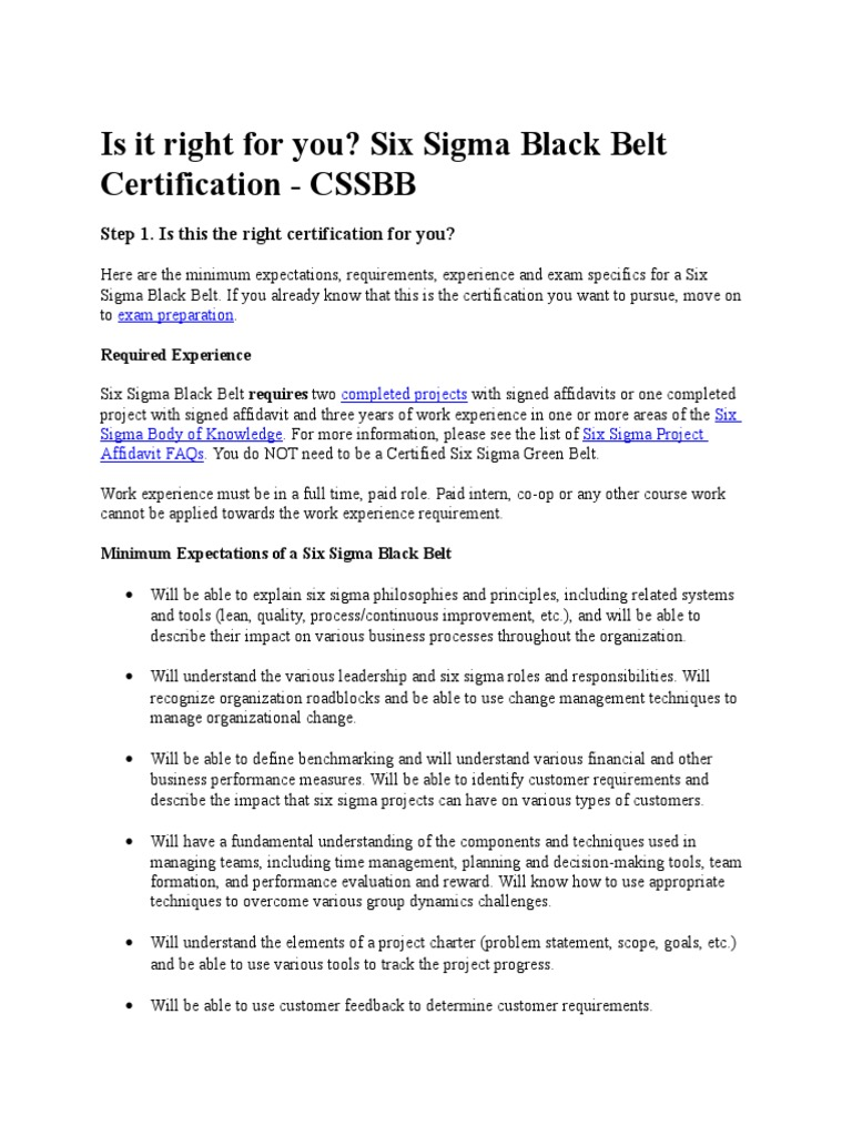 Cssbb Requirement Six Sigma Professional Certification