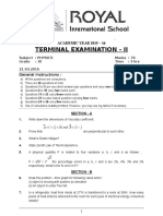 Xi - Physics - Terminal Examination - II