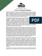 """Sharing the Mekong Basin"" Forum Report (short/ english)"