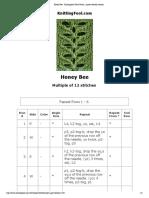 Honey Bee - Knittingfool Stitch Detail - Printer Friendly Version