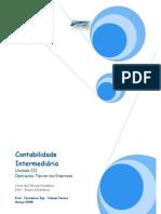Contabilidade - Curso de Contabilidade Intermediária - Unidade III Operações Típicas nas Empresas