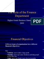 Role of Finance CMD