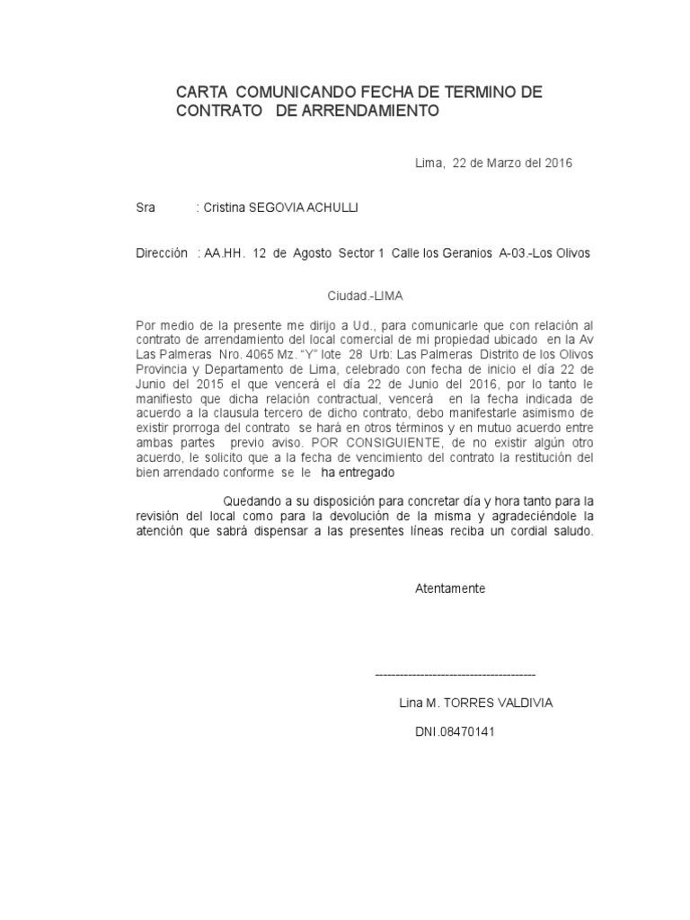 Carta para poner fin contrato de arrendamiento for Contrato de arrendamiento de oficina