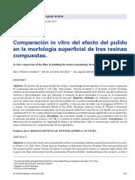 Comparación in vitro del efecto del pulido en la morfología superficial de tres resinas compuestas.