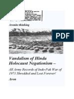 Vandalism of Hindu Holocaust Negationism