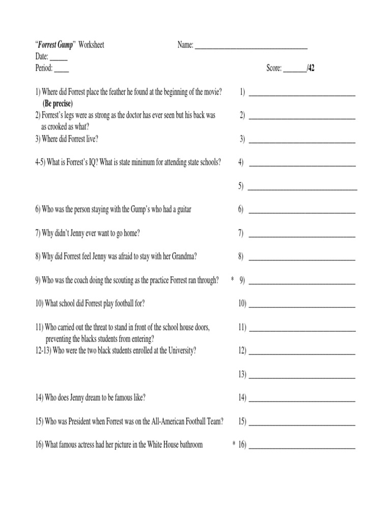 Uncategorized Forrest Gump Worksheet forrest gump movie worksheet violence leisure