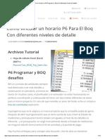 Cómo Vincular Un P6 Programar y Boq Con Diferentes Niveles de Detalle