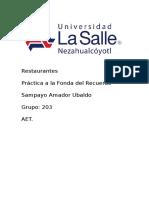 Trabajo de Restaurantes La Fonda Del Recuerdo UBALDO SAMPAYO