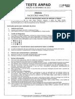 Prova raciocionio Analítico ANPAD , Setembro 2011