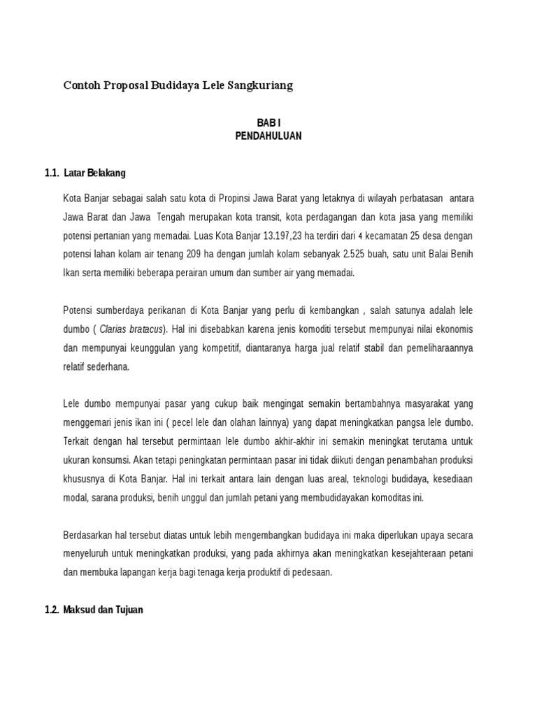 Contoh Proposal Budidaya Lele Sangkuriang