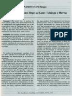 La Critica Del Joven Hegel a Kant. Tubinga y Berna