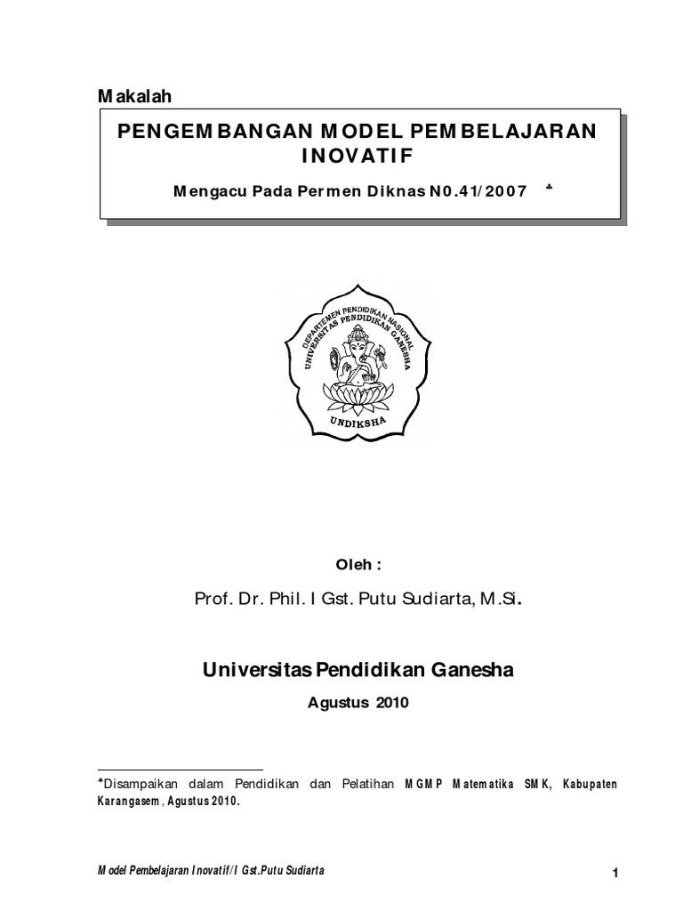 Makalah Model Inovatif Prof Sudiarta Pdf
