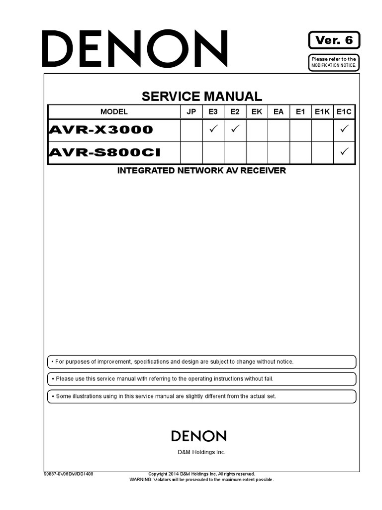 Denon - AVR-X3000,AVR-S800CI pdf | Electrical Connector | Hdmi