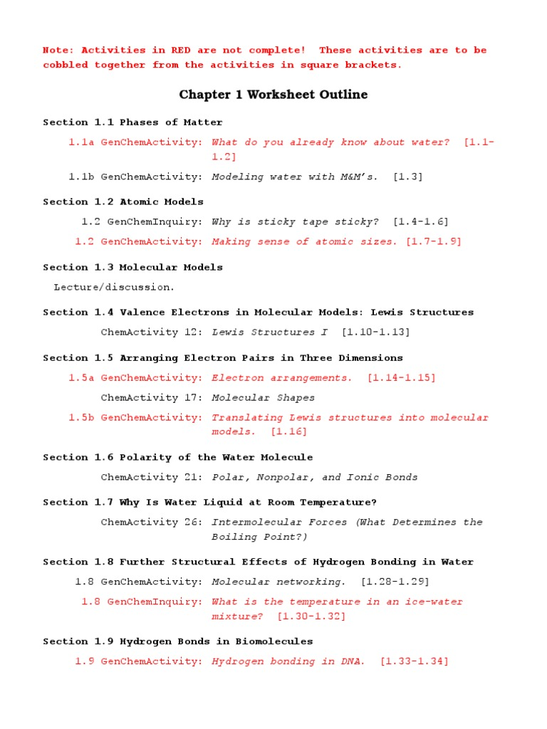worksheet Making Molecular Models Worksheet chapter 1 worksheet outline chemical polarity properties of water