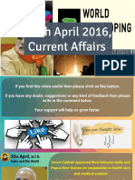 30 April 2016 Current Affair for Competition Exams