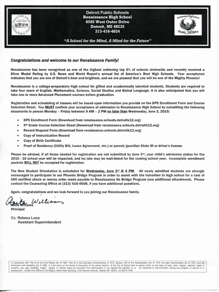 Acceptance letter secondary school rehabilitation act of 1973 aiddatafo Choice Image