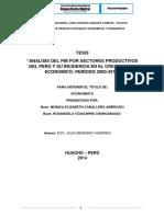 Analisis Del Pib Por Sectores Productivos Del Perú y Su Incidencia en El Crecimietno Económico