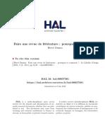 Pages 15 a 27 - Dumez H. - 2011 - Faire Une Revue de LittA Rature. - Libellio Vol. 7 NA 2