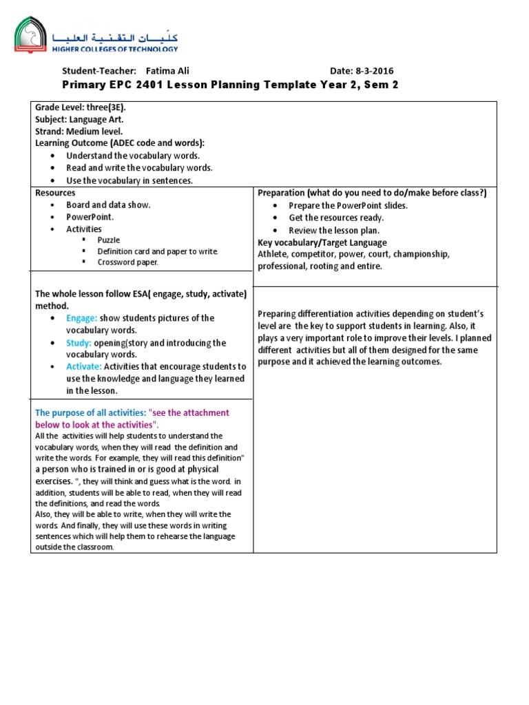 lesson plan- vocabulary words | Vocabulary | Teachers