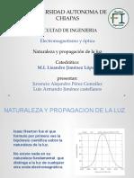 NATURALEZA Y PROPAGACION de LA LUZ Jimenez Castellanos Perez Gonzalez