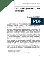 Choix Et Enseignement Du Lexique Amazigh