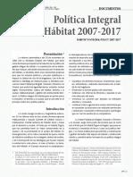 Política Integral Del Hábitat 2007-2017