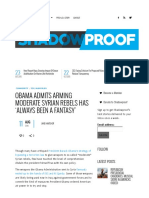 Obama Admits Arming Moderate Syrian Rebels Has 'Always Been a Fantasy' - Shadowproof