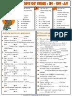 Prepositions of Time in on at Esl Grammar Exercises Worksheet