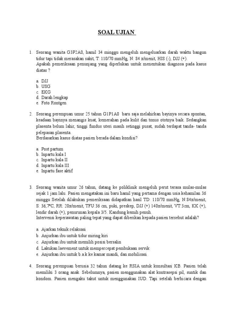 Soal Ujian Kompetensi Maternitas Set 3
