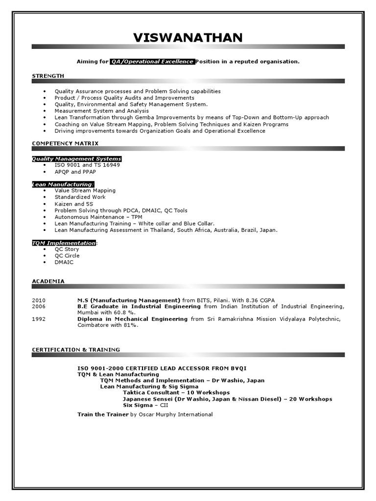 Resume Leanc Lean Manufacturing Quality Assurance
