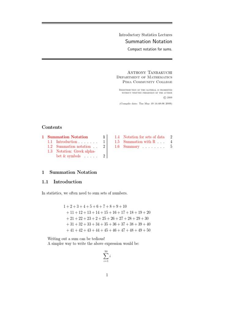 Summation Notation Summation Greek Alphabet