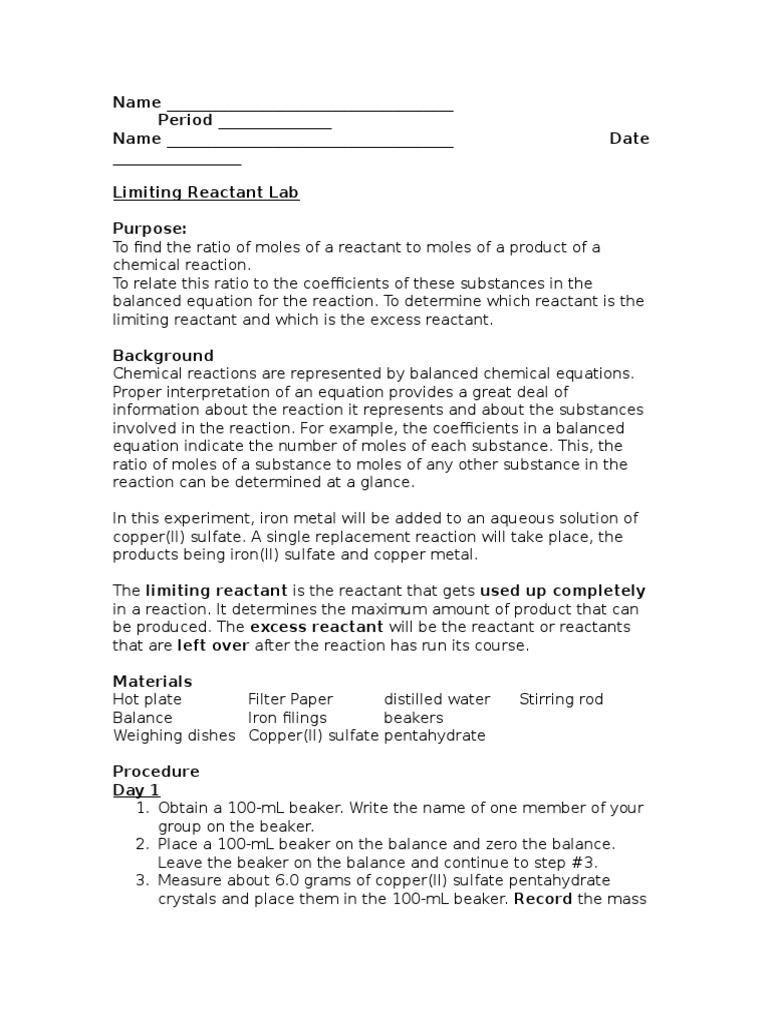 Braxton limiting reactant lab mole unit chemical reactions robcynllc Images