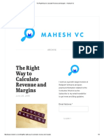 The Right Way to Calculate Revenue and Margins — Mahesh VC
