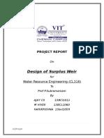 Design of surplus weir