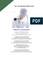 Rafael Tan - Kesunyian Hati Lyrics