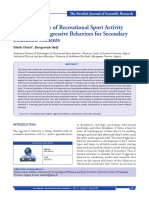 The Importance of Recreational Sport Activity in Reducing Aggressive Behaviors for Secondary Education Students