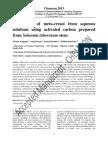 Adsorption of meta-cresol from aqueous solutions using activated carbon prepared from Solonum tuberosum stem