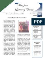 April 2016 Newsletter