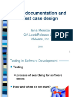 Test Documentation and Test Case Design