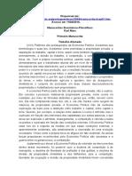 MARX, Karl. Manuscritos Econômico-Filosóficos - Trabalho Alienado