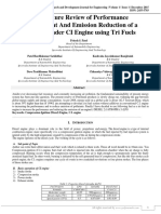 A Literature Review of Performance Enhancement and Emission Reduction of A Single Cylinder CI Engine Using Tri Fuels