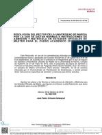 Normas e Instrucciones Admisión y Matrícula Máster 2016 2017
