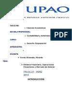 Sistema Financiero, Operaciones Financieras y Mercado de Valores