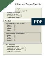 Independent Standard Essay Checklist