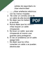 8 Medidas de Seguridad a La Hora de Utilizar Electricidad