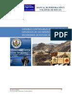 Manual de Perforación y Voladura. Tema 2, 3 y 4 Variables, Explosivos y Mecanica
