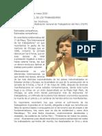 Discurso por el 1° de Mayo 2016 pronunciado por Carmela Sifuentes, Presidenta de CGTP