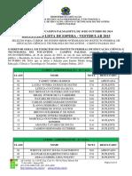 Edital 031_2014 Vestibular Ensino Mdio Integrado 2015 - Lista de Espera Resultado